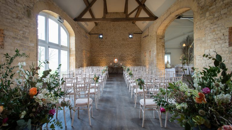 Stone Barn set up for a wedding ceremony