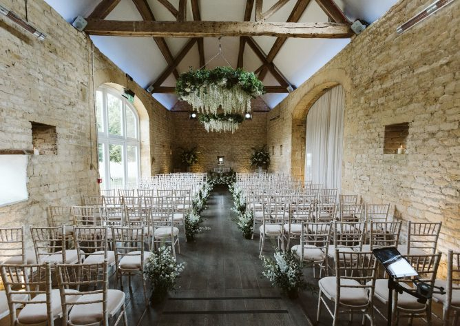 The stone barn all set for the wedding ceremony
