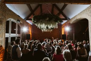 The dancefloor packed with wedding guests for the first dance. Image: David Hughes Photography